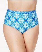 LaBlanca La Blanca Plus Size True Blue Printed High-Rise Tummy-Control Bikini Bottoms