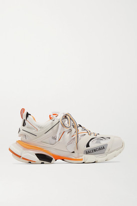 Balenciaga Track Logo-detailed Leather, Mesh And Rubber Sneakers - White