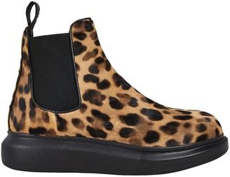 Alexander McQueen Leopard Calf Hair Chelsea Boots