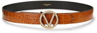 Mario Valentino Giusy Croc-Embossed Leather Belt
