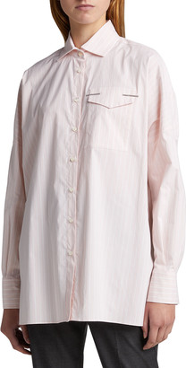 Brunello Cucinelli Oversized Striped Poplin Shirt with Monili Detail
