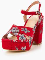 Very Rose Floral Tapestry Platform Sandal - Red