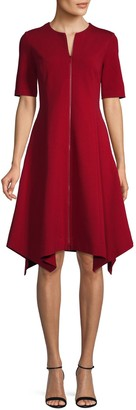 Lafayette 148 New York Demille Zip-Front Fit-&-Flare Dress