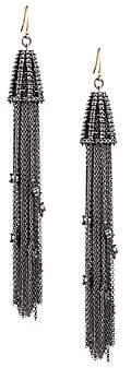 Alexis Bittar Women's Ruthenium-Plated & Crystal Chain Tassel Drop Earrings