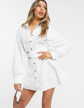 I SAW IT FIRST belted oversized shirt dress-White
