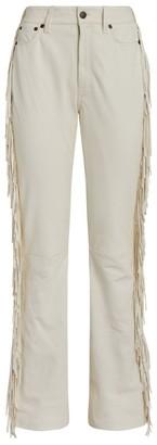 Ralph Lauren Leather Fringe-Trim Trousers