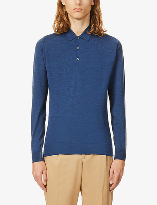 John Smedley Belper collared wool polo shirt