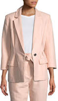 Joie Lian One-Button Cotton-Linen Blazer Jacket