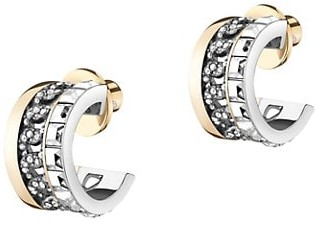 DEMARSON Portia Two-Tone & Swarovski Crystal Chain Hoop Earrings
