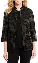 Misook Floral Texture Woven Jacket
