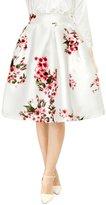 Allegra K Woman Floral Prints High Waist Pleated A Line Midi Skirt M