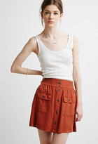 Forever 21 FOREVER 21+ Contemporary Button-Front Pocket Skirt