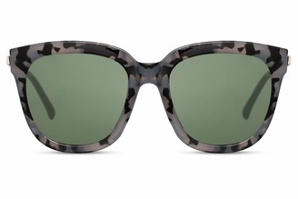 Cheapass Sunglasses Womens Oversized Shades Milky Grey Camouflage Frame with Green Lenses UV400 protected