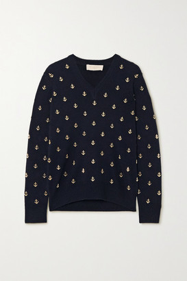 Michael Kors Embellished Cashmere Sweater - Midnight blue