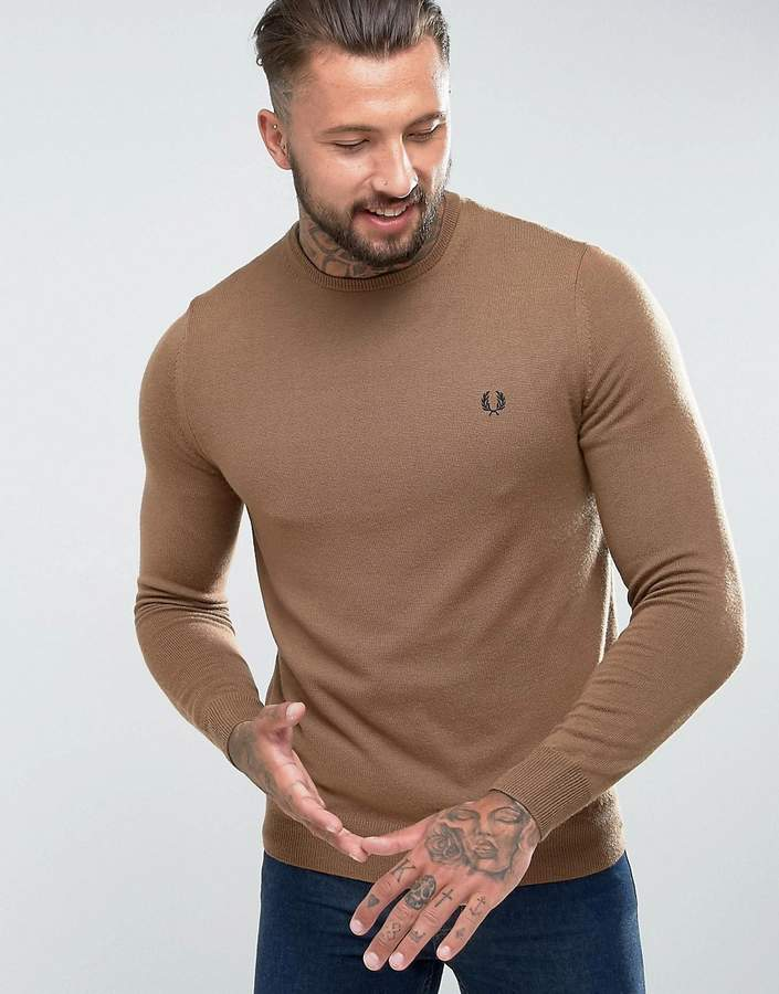 Fred Perry Merino Crew Neck Jumper in Camel