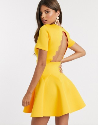 ASOS DESIGN tshirt scallop back mini skater dress in yellow