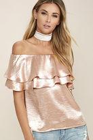 LuLu*s Time to Shimmer Blush Pink Satin Off-the-Shoulder Top