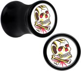 Body Candy Acrylic Colorful Skull Saddle Plug Pair 4 Gauge
