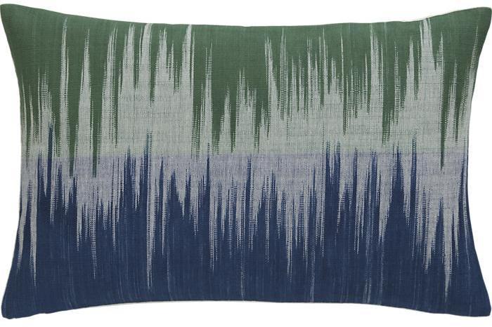"Crate & Barrel Malabar Blue and Green 18""x12"" Pillow with Down-Alternative Insert"