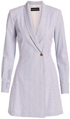 Brandon Maxwell Double Breasted Pinstripe Seersucker Blazer Dress