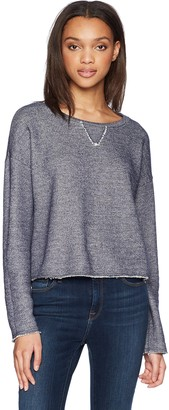 LAmade Women's Crew Neck Denim French Terry Sweatshirt Large
