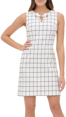 Tommy Hilfiger Women's Casual Dresses BCR - Black & Cream Windowpane Grommet-Accent Sleeveless Dress - Women