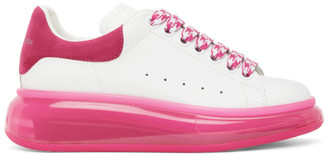 Alexander McQueen White and Pink Clear Sole Oversized Sneakers