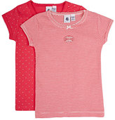 Petit Bateau DOTTED & STRIPED COTTON SHORT-SLEEVE T-SHIRT SET-PINK SIZE 3