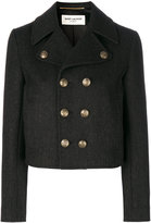 Saint Laurent Caban Court cropped coat - women - Cotton/Wool - 34
