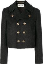 Saint Laurent Caban Court cropped coat - women - Cotton/Wool - 36