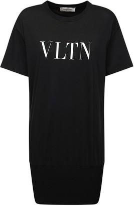 Valentino Vltn Printed Logo Cotton T-Shirt Dress