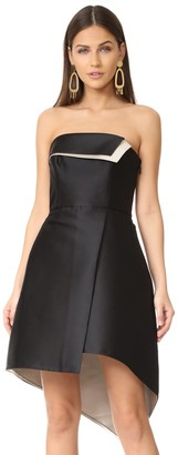 Halston Women's Strapless Color Blocked Structure Dress