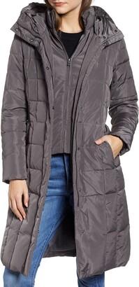 Cole Haan Puffer Zip Bib Insert Hooded Down Jacket