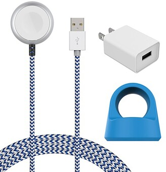 Posh Tech Blue/White Certified 5Ft Braided Apple Watch Charging Cable & Stand 2-Piece Set
