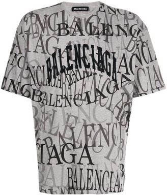 Balenciaga all over logo T-shirt