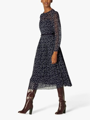 LK Bennett Avery Pearl Print Dress, Midnight
