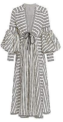 Rosie Assoulin Women's Lantern Sleeve Striped Wool & Silk Maxi Dress