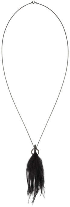 Ann Demeulemeester Silver and Black Ostrich Feather Necklace
