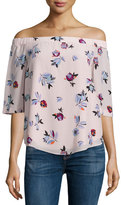 Rebecca Taylor Floral-Print Off-the-Shoulder Top