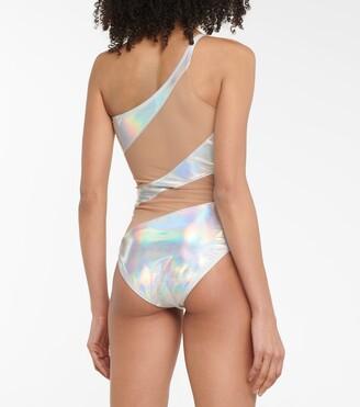 Norma Kamali Snake holographic one-shoulder swimsuit