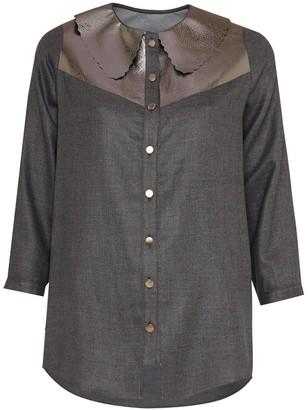 Manley Mia Silk Shirt With Metallic Leather Collar Gunmetal