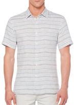 Perry Ellis Space Dyed Striped Linen Shirt