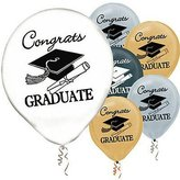 Graduation Balloons Gold/Silver/Black/White - 12 (15 per package)