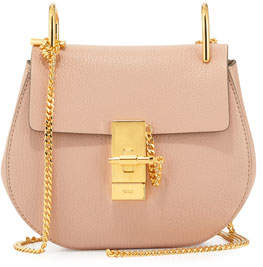Chloé Drew Mini Lambskin Shoulder Bag, Cement Pink