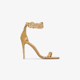 Alexandre Vauthier gold Elsa 100 chain strap leather sandals