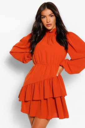boohoo Shirred Neck Blouson Sleeve Skater Dress