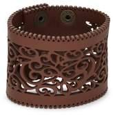 Design Lab Lord & Taylor Laser-Cut Leather Cuff Bracelet