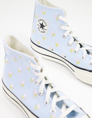 Converse Chuck 70 Hi floral embroidered trainers in blue