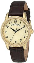 Stuhrling Original Symphony Women's Quartz Watch with Gold Dial Analogue Display and Brown Leather Strap 651.02
