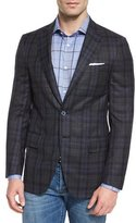 Isaia Super 140s Plaid Two-Button Sport Coat, Gray/Navy
